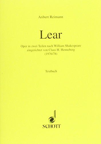 9783795736897: LEAR LIBRETTO (GERMAN)