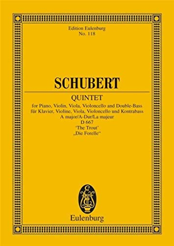"""9783795761257: Piano Quintet in A Major """"The Trout"""": Study Score"""