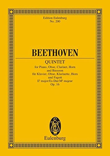 9783795767723: Quintet in E-flat Major, Op. 16: Study Score