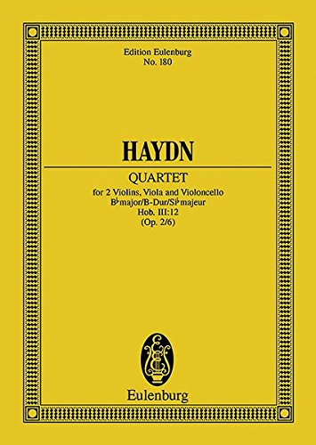 9783795771294: String Quartet in B-flat Major, Op. 2/6, Hob.III:12