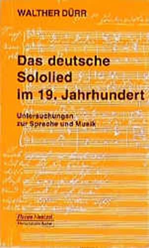 9783795901431: Das deutsche Sololied im 19. Jahrhundert: Untersuchungen zu Sprache und Musik (Taschenbücher zur Musikwissenschaft) (German Edition)