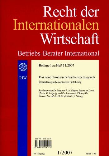 9783800519149: RIW-Special: chinesisches Sachenrecht