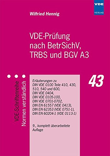 9783800732005: VDE-Prüfung nach BetrSichV, TRBS und BGV A3