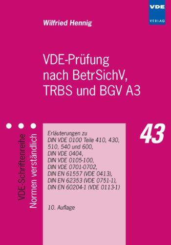 9783800734405: VDE-Prüfung nach BetrSichV, TRBS und BGV A3