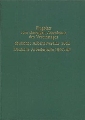 9783801220983: Flugblatt vom ständigen Ausschusse des Vereinstages deutscher Arbeitervereine: Flugblätter (Reprints zur Sozialgeschichte)