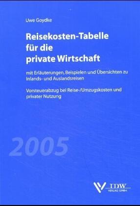 9783802111655: Reisekosten-Tabelle für die private Wirtschaft