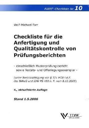 9783802112492: Checkliste für die Anfertigung und Qualitätskontrolle von Prüfungsberichten