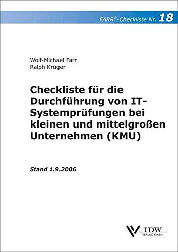 9783802112850: Checkliste 18 f?r die Durchf?hrung von IT-Systempr?fungen bei kleinen und mittelgrossen Unternehmen (KMU)