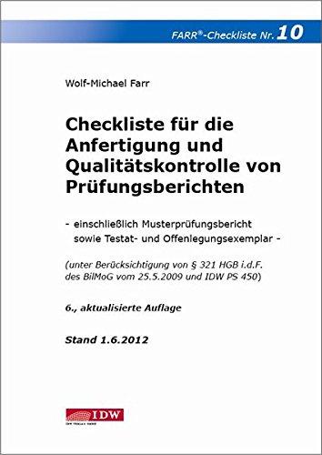 9783802118920: Checkliste für die Anfertigung und Qualitätskontrolle von Prüfungsberichten