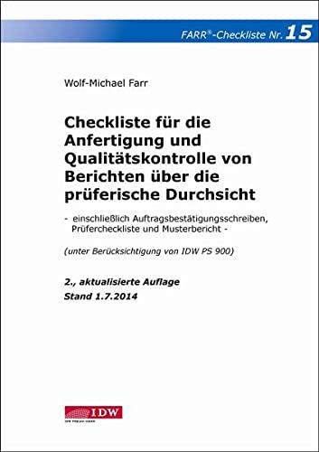 Checkliste 15 für die Anfertigung und Qualitätskontrolle von Berichten über die pr&...