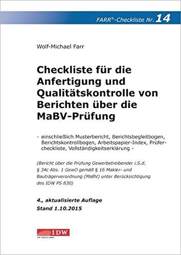 Checkliste 14 für die Anfertigung und Qualitätskontrolle von Berichten über die ...