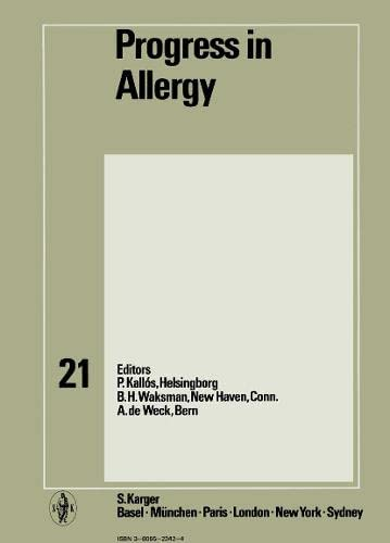 9783805523424: Progress in Allergy Vol. 21 (Chemical Immunology and Allergy, Vol. 21)