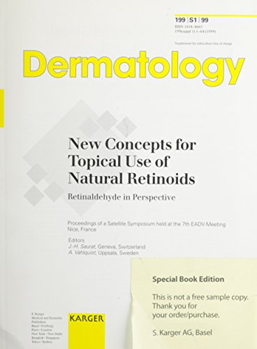 9783805569149: New Concepts for Topical Use of Natural Retinoids: Retinaldehyde in Perspective Satellite Symposium held at the 7th EADV Meeting, Nice, October 1998: Proceedings (Dermatology)