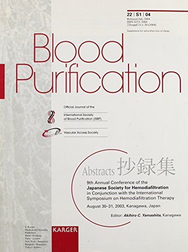 9783805578011: Japanese Society for Hemodiafiltration: 9th Annual Conference, in Conjunction with the International Symposium on Hemodiafiltration Therapy, Kanagawa, August 2003: Abstracts (Blood Purification)
