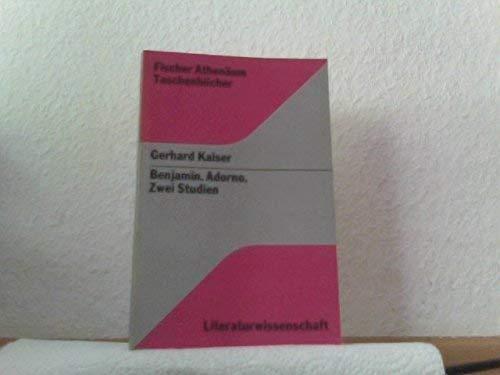 9783807220628: Benjamin Adorno Zwei Studien