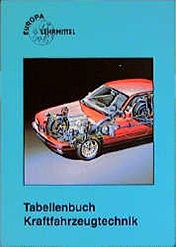 Tabellenbuch Kraftfahrzeugtechnik. Tabellen, Formeln, Übersichten, Normen , Mathematik, Betriebsführung, Grundkenntnisse, Werkstoffkunde, Zeichnen, Fachkenntnisse Kraftfahrzeugtechnik, elektrische Anlage, Vorschriften