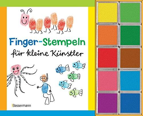 9783809428640: Finger-Stempeln für kleine Künstler: Buch und 10 Stempelkissen