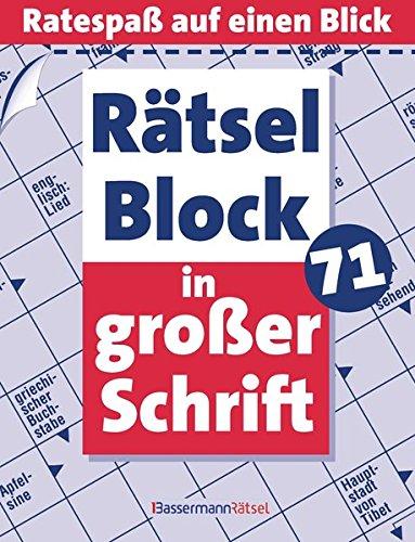 Rätselblock in großer Schrift. Bd.71: Ratespaß auf: Eberhard Krüger