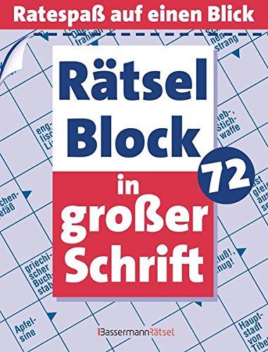 Rätselblock in großer Schrift. Bd.72: Ratespaß auf: Eberhard Krüger