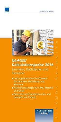 sirAdos Kalkulationpreise 2016 Zimmerer/Dachdecker und Klempner