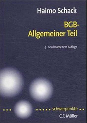 9783811408227: BGB-Allgemeiner Teil [Paperback] by BGB-Allgemeiner Teil