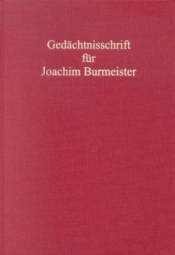 9783811452282: Gedächtnisschrift für Joachim Burmeister
