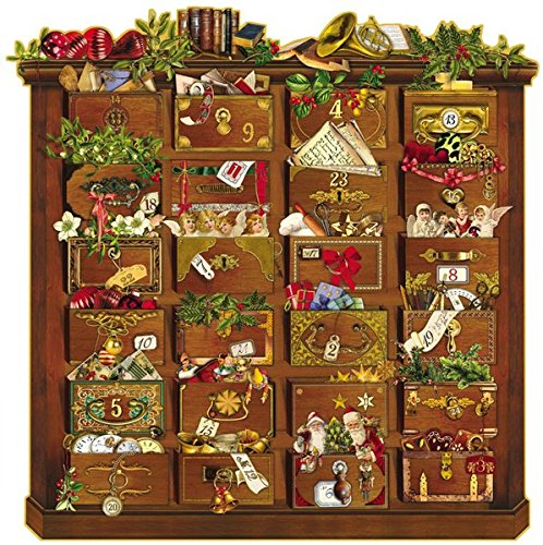 9783815743089: Nostalgische Weihnachtskommode: Zettelkalender. Der besondere Adventskalender für Erwachsene/24 eingesteckte Zettelchen, Gold-Glimmer