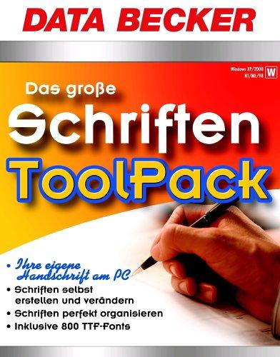 9783815870990: Das gro�?e Schriften ToolPack, 1 CD-ROM Ihre eigene Handschrift am PC. Schriften selbst erstellen und ver�ndern. Schriften perfekt organisieren. Inklusive 800 TTF-Fonts. F�r Windows XP/2000/NT/ME/98