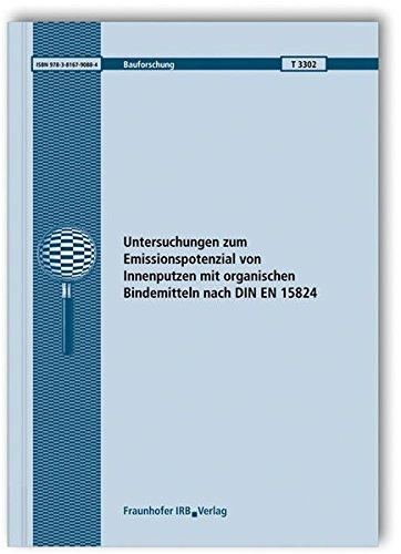 9783816790884: Untersuchungen zum Emissionspotenzial von Innenputzen mit organischen Bindemitteln nach DIN EN 15824