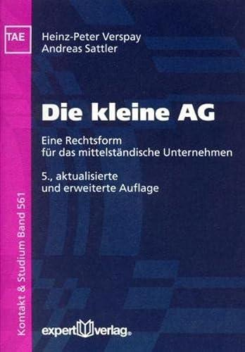 9783816926368: Die kleine AG. Eine Rechtsform für das mittelständische Unternehmen