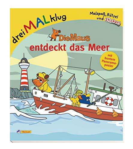 9783821233093: Die Maus entdeckt das Meer: dreiMALklug - Malspaß, Rätsel und Sticker