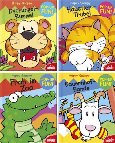 9783822716847: Happy Snappies Box: Bauernhof-Bande / Dschungel-Rummel / Froh im Zoo / Haustier-Trubel. Pop-Up-Fun