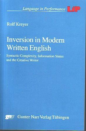 Inversion in Modern Written English: Rolf Kreyer