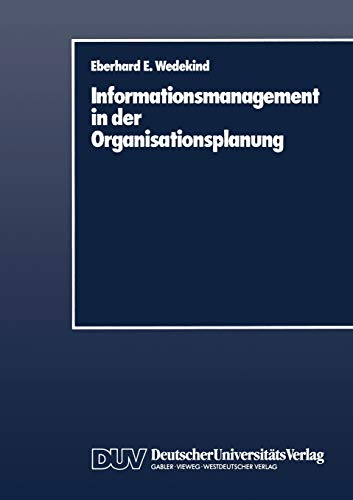 9783824400034: Informationsmanagement in der Organisationsplanung