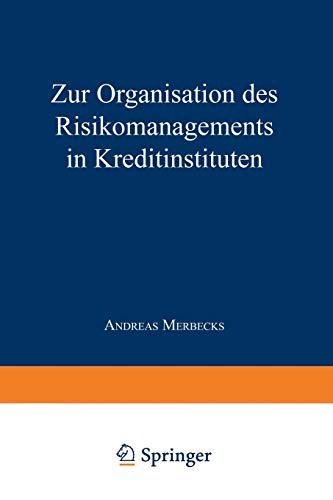9783824403226: Zur Organisation des Risikomanagements in Kreditinstituten