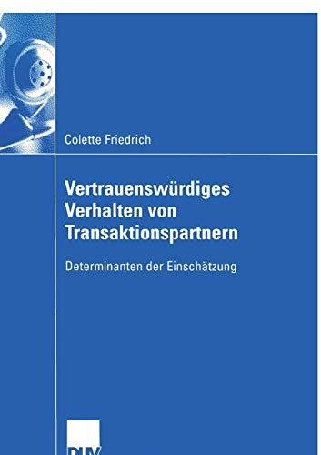 9783824408078: Vertrauenswürdiges Verhalten von Transaktionspartnern: Determinanten der Einschätzung