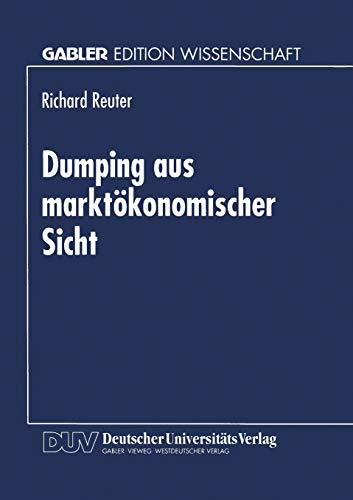 9783824463299: Dumping aus marktökonomischer Sicht (German Edition)