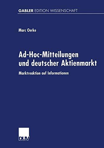 9783824469567: Ad-Hoc-Mitteilungen und Deutscher Aktienmarkt: Marktreaktion auf Informationen (German Edition)