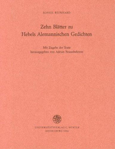 Zehn Blätter zu Hebels Alemannischen Gedichten. Mit Zugabe der Texte herausgegeben von Adrian Braunbehrens - Reinhard, Sophie