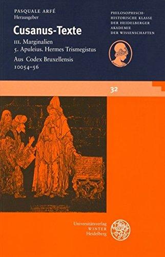 Annotationes in Apulei Madaurensis De Philosophia libros et Hermetis Trismegisti Asclepium. - Nikolaus von Kues