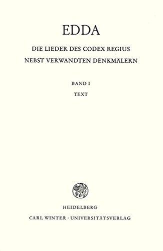 9783825330804: Edda. Die Lieder des Codex regius nebst verwandten Denkmälern 01. Text
