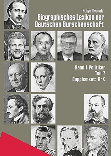 9783825360504: Biographisches Lexikon Der Deutschen Burschenschaft: Politiker / Supplement A-k
