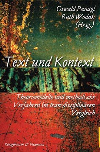 9783826028380: Text und Kontext: Theoriemodelle und methodische Verfahren im transdisziplinären Vergleich