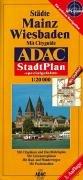 9783826406997: ADAC Stadtplan Wiesbaden/Mainz 1 : 20 000. Spezialgefaltet: Mit Cityguide. Mit Cityplänen und Durchfahrtsplan. Mit Liniennetzen Mainz und RMV. Mit Postleitzahlen