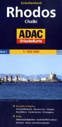 9783826413285: ADAC UrlaubsKarte Rhodos / Chalki 1 : 100 000