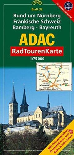 9783826415555: ADAC RadTourenKarte 32. Rund um Nürnberg, Fränkische Schweiz, Bamberg, Bayreuth (mit Kartometer). 1 : 75 000