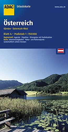 9783826416408: ADAC UrlaubsKarte Österreich 04. Kärnten, Steiermark-West 1 : 150 000: Register: Legende, Citypläne, Stadtinfo, Ortsregister. Karte: ... Nationalparks, landschaftlich schöne Strecken