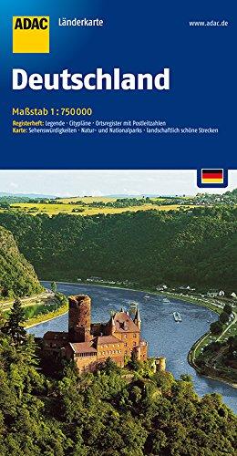 ADAC LänderKarte Deutschland 1 : 750 000: Register: Legende, Zufahrtskarten, Citypläne, Autokennzeichen, Ortsregister mit Postleitzahlen - Karte: ... landwirtschaftlich schöne Strecken - Collectif