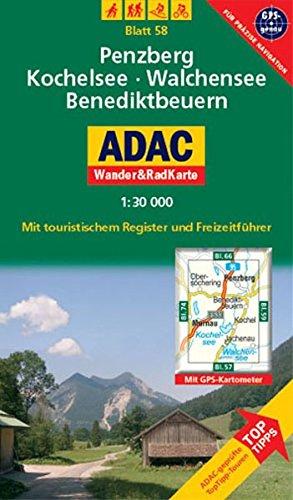 9783826417382: ADAC Wander- & RadKarte 58 Penzberg, Kochelsee / Walchensee / Benediktbeuern 1 : 30 000: Deutsche Alpen / Alpenvorland. Mit touristischem Register und Freizeitführer