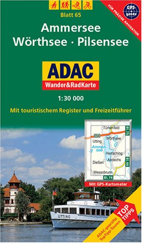 9783826417450: ADAC Wander- & RadKarte 65 Ammersee 1 : 30 000: Deutsche Alpen / Alpenvorland. Mit touristischem Register und Freizeitführer